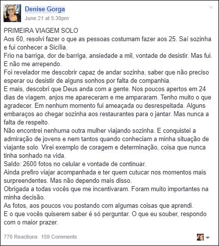 Denise Gorga Depoimento Grupo