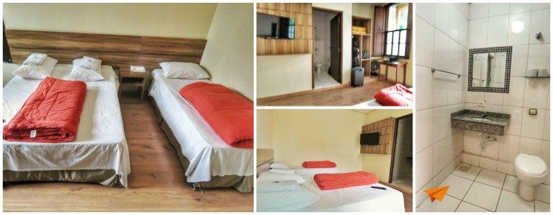 Hostel em Curitiba Roma Quarto e Banheiro