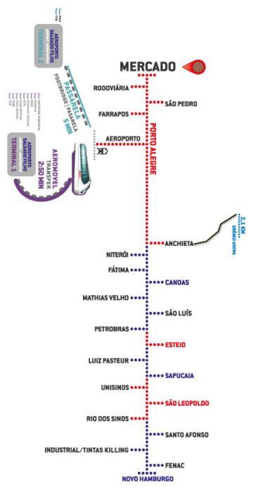Mapa Tremsurb Porto Alegre Linhas