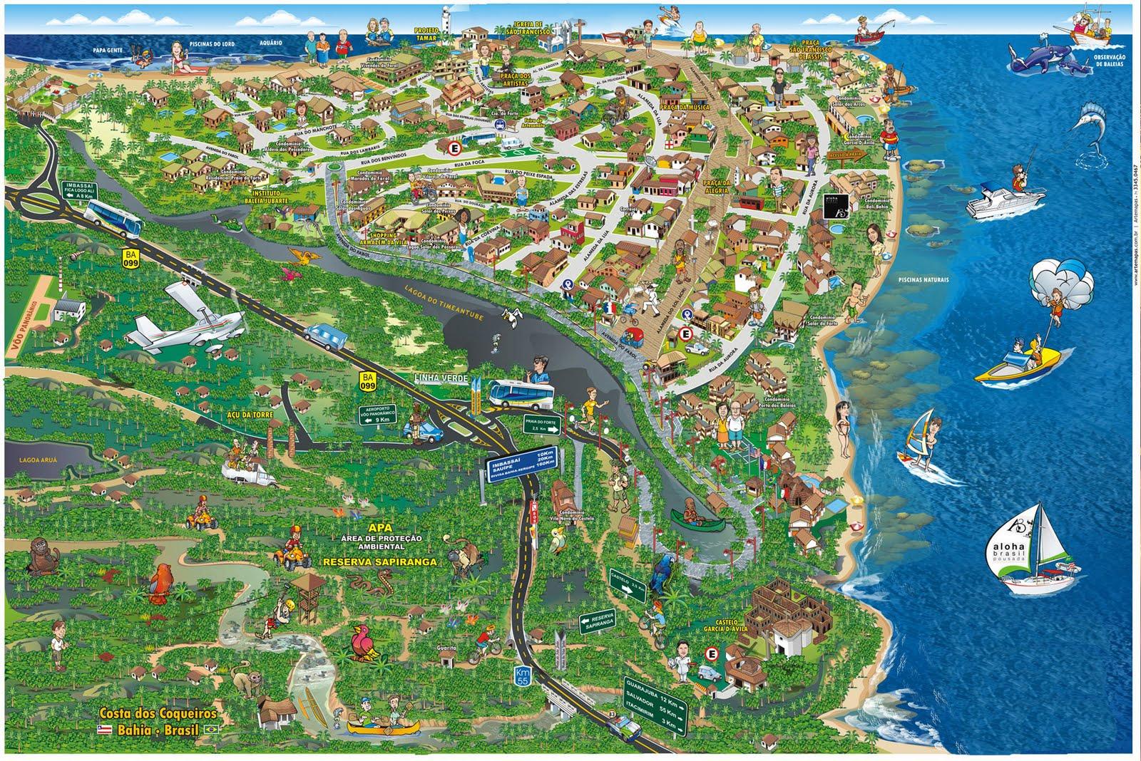 Viajar Sozinha para a Praia do Forte Mapa Cidade
