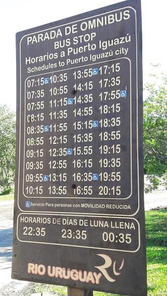 Horários Ônibus Cataratas Iguazu para Puerto Iguazu