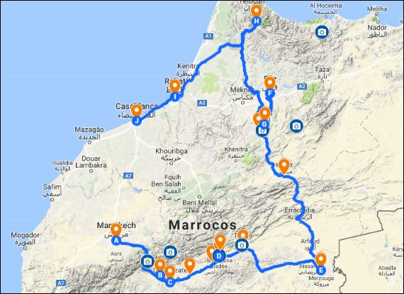 Viajar para o Marrocos Mapa com Roteiro | Viajante Solo
