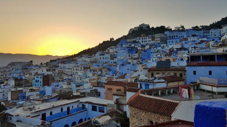 Roteiro no Marrocos Por do Sol Chefchaouen Viajante Solo