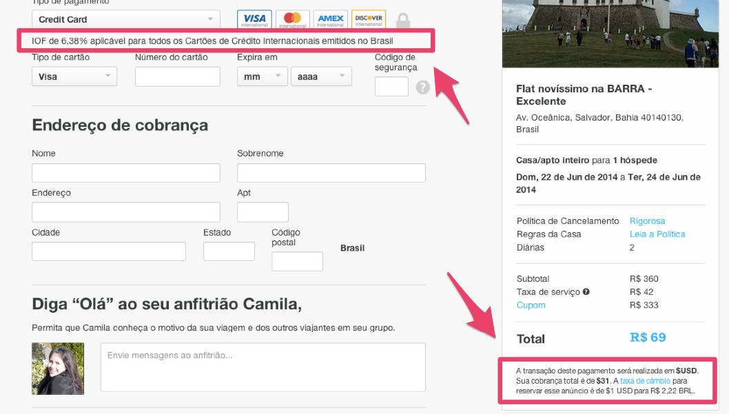 Viajar Sozinha e Usar o Airbnb tela de cobrança
