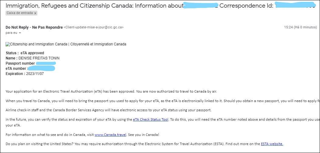 Como solicitar o eTA para entrada no Canadá Email Aprovação