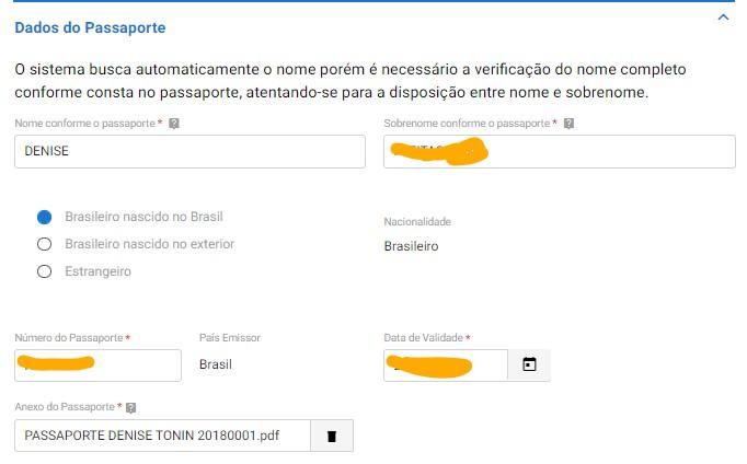CDAM PB4 Dados do Passaporte