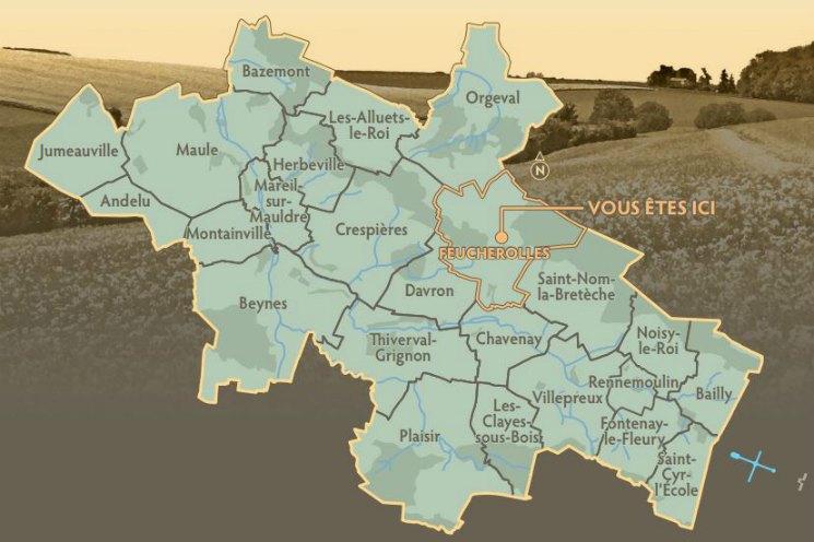 Feucherolles Localização no Mapa | Viajante Solo