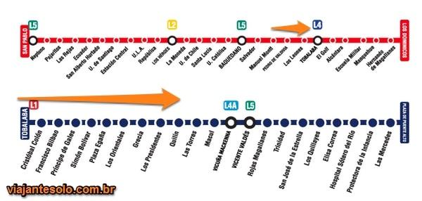 Linhas 1 e 4 Metrô Santiago | Viajante Solo