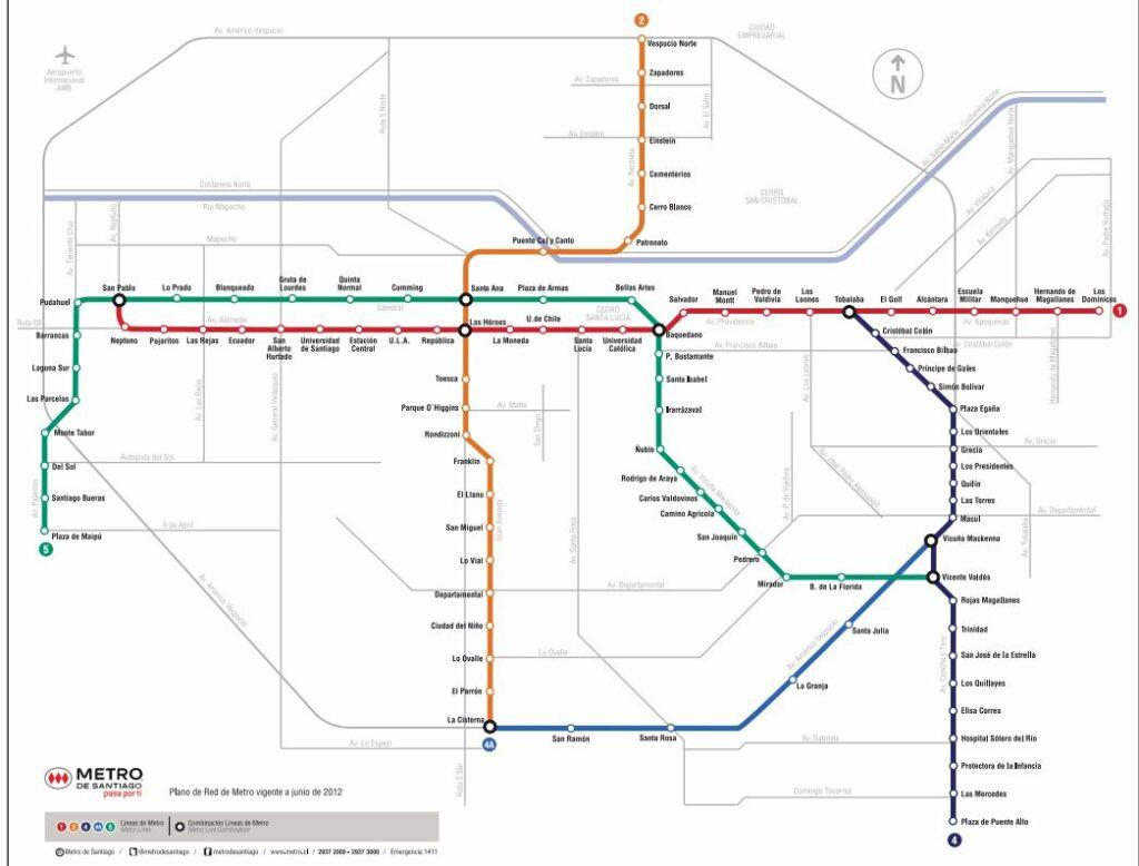 Mapa Metrô de Santiago | Viajante Solo